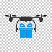 Drone Gift Delivery toolbar icon. Vector pictogram style is a flat bicolor symbol, blue and gray colors, chess transparent background. poster