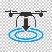 Drone Landing toolbar icon. Vector pictograph style is a flat bicolor symbol, blue and gray colors, chess transparent background. poster