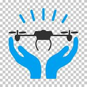 Drone Launch Hands toolbar icon. Vector pictogram style is a flat bicolor symbol, blue and gray colors, chess transparent background. poster
