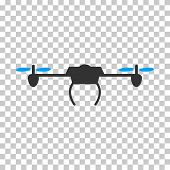 Drone interface icon. Vector pictograph style is a flat bicolor symbol, blue and gray colors, chess transparent background. poster