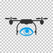 Eye Spy Drone rounded icon. Vector pictograph style is a flat bicolor symbol, blue and gray colors, chess transparent background. poster