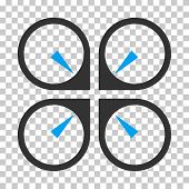 Hover Drone toolbar icon. Vector pictogram style is a flat bicolor symbol, blue and gray colors, chess transparent background. poster