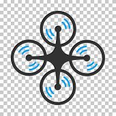 Quadcopter Screw Rotation interface toolbar icon. Vector pictogram style is a flat bicolor symbol, blue and gray colors, chess transparent background. poster