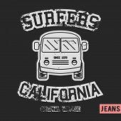 T-shirt print design. Surfer bus vintage stamp. Printing and badge applique label t-shirts jeans casual wear. Vector illustration. poster