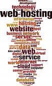Web hosting word cloud concept. Vector illustration poster