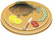 cooked fish and raw vegetables on a board poster