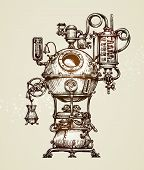 Vintage distillation apparatus sketch. moonshine vector illustration poster
