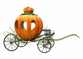 3D rendering of a Cinderella pumpkin carriage isolated on white background poster