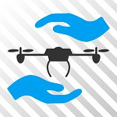 Airdrone Care Hands vector icon. Illustration style is flat iconic bicolor blue and gray symbol on a hatch transparent background. poster