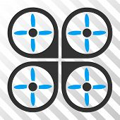 Copter vector pictogram. Illustration style is flat iconic bicolor blue and gray symbol on a hatched transparent background. poster