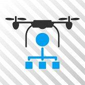 Drone Distribution vector pictograph. Illustration style is flat iconic bicolor blue and gray symbol on a hatched transparent background. poster