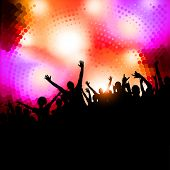 Large crowd of party people - vector background. poster