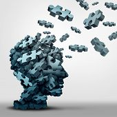 Dementia puzzle concept brain health problem symbol as a neurology and psychology icon as a a group of 3D illustration jigsaw pieces shaped as a human head as a mental health or memory loss disorder. poster