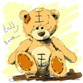 Teddy bear doodle Vector. Visit my portfolio for big collection of doodles poster