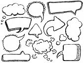 Hand Drawn Speech And Thought Bubbles. Visit my portfolio for big collection of doodles poster