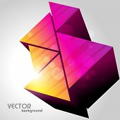 3d colorful triangles on light background poster
