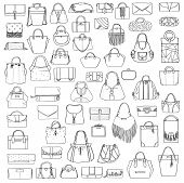 Large vector set of black and white doddle fashion bags hand drawn with black ink isolated on white background. Illustration with group of various handbag purse pouch satchel clutch bag. poster