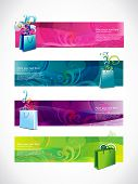 vector shopping headers style set of four different style and colors poster