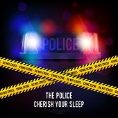 Police crime scene with yellow tape red and blue flashing siren realistic vector illustration poster