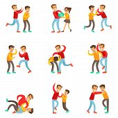A Bully Oppressing And Bullying Other Kids With The Victims Fighting Back Or Loosing The Fight Being Beaten Up By Stronger Boy. Set Of Flat Vector Teenage Aggression And Conflict Resulting In Street Fight Illustrations. poster