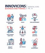 Business and finance - set of modern vector thin line flat design icons and pictograms. International business, vision, risk management, development direction, delegating tasks, content curation, quality control, key person, talent management poster
