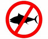 Detailed and colorful illustration of prohibition sign tuna fishing poster