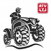ATV emblems, badges and icons. All-terrain vehicle off-road design elements. poster