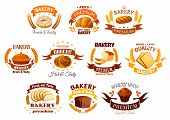 Bakery shop signs of bread, pastry dessert icons. Vector isolated symbols of donut, croissant, wheat bread bagel, meat and sweet pie, rye bread loaf, chocolate muffin. Ribbon, star for bakery, pastry, patisserie poster
