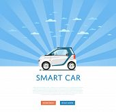 City car isolated on rays background. Vector compact smart car. Vehicles cartoon car isolated. Smart car side view isolated. Urban car or compact car cartoon style. Modern car model. Smart car icon. For car rental service or car sale poster. Car ad. poster