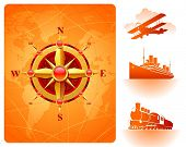 Golden compass rose on a world map background and retro transport poster