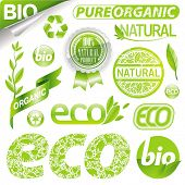 Collection of eco signs, labels and emblems poster