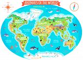 Animals of the world vector. Flat style. World globe with map of continents and different animals in their habitats. Northern, african, american, european, asian fauna. For children s book design poster