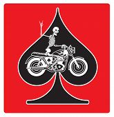 Vector logo or badge featuring a skeleton riding a vintage motorcycle on an ace of spades background. The skeleton is giving the two fingered devils horns heavy metal salute. poster