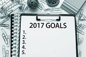 2017 Goals / New year resolutions, plans, aspirations list concept poster