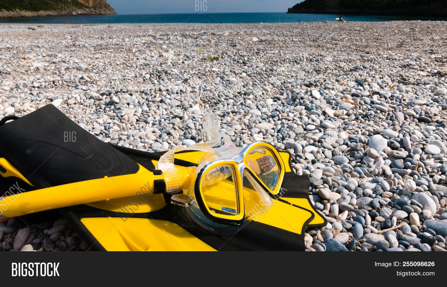 0054e5dec125e Snorkel Equipment Flippers And Snorkeling Mask Tube Lying On Stone Beach  Sea Shore. Summer Vacation