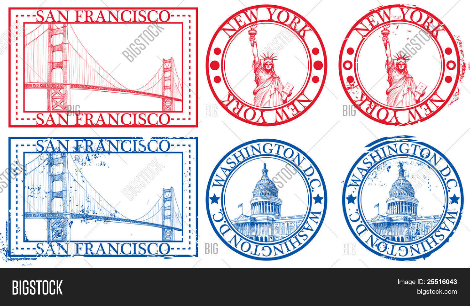 Usa famous cities stamps symbols vector photo bigstock usa famous cities stamps with symbols new york statue of liberty san buycottarizona Image collections