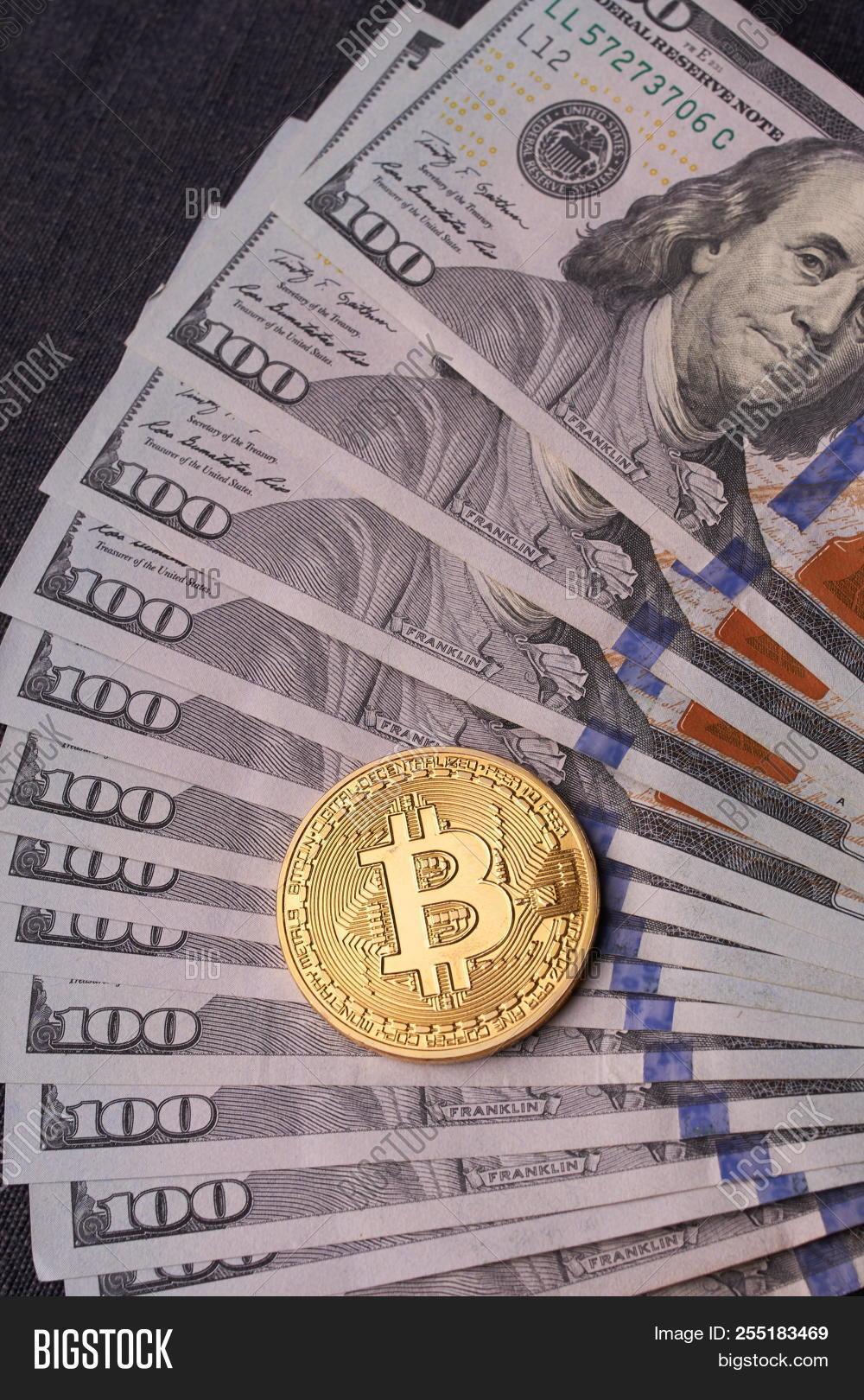 Golden Metal Bitcoin Image Photo