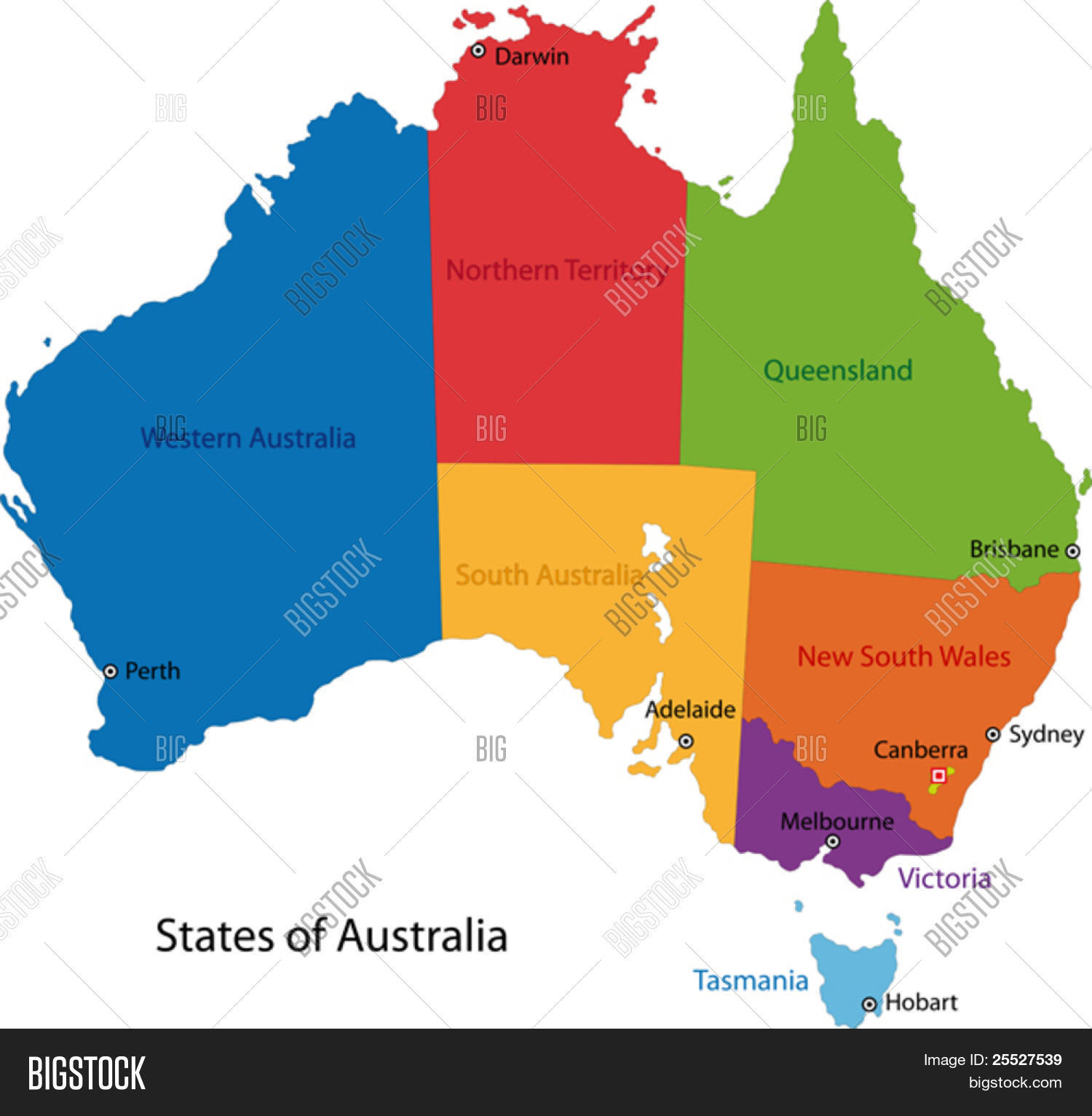 Colorful Australia Map Regions Vector Photo Bigstock