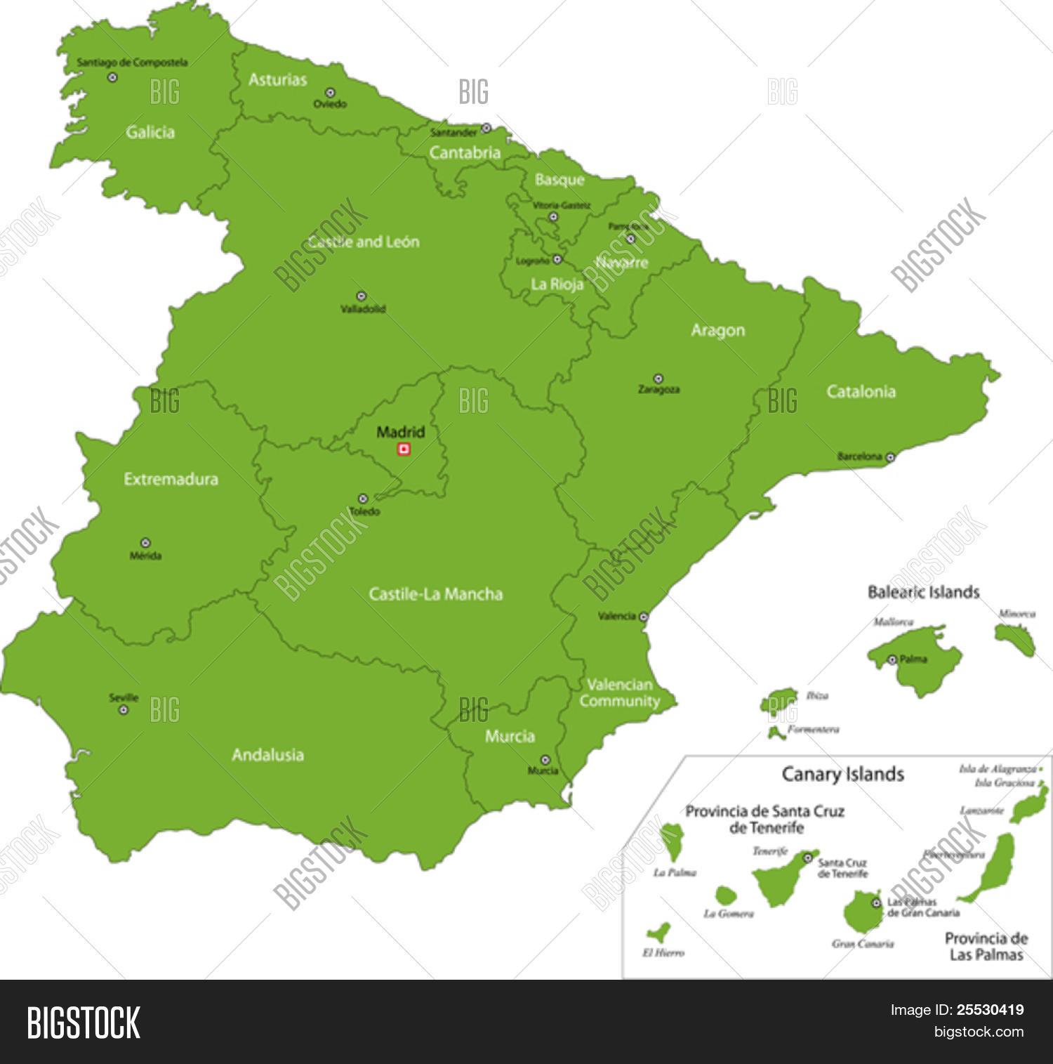 carte espagne verte