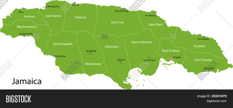 Jamaica Map Parishes Vector & Photo (Free Trial) | Bigstock