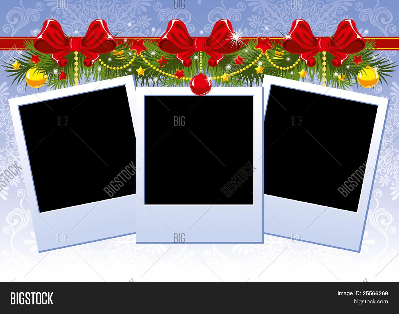 Vector y foto Marco De Fotos De Navidad Tres Con | Bigstock