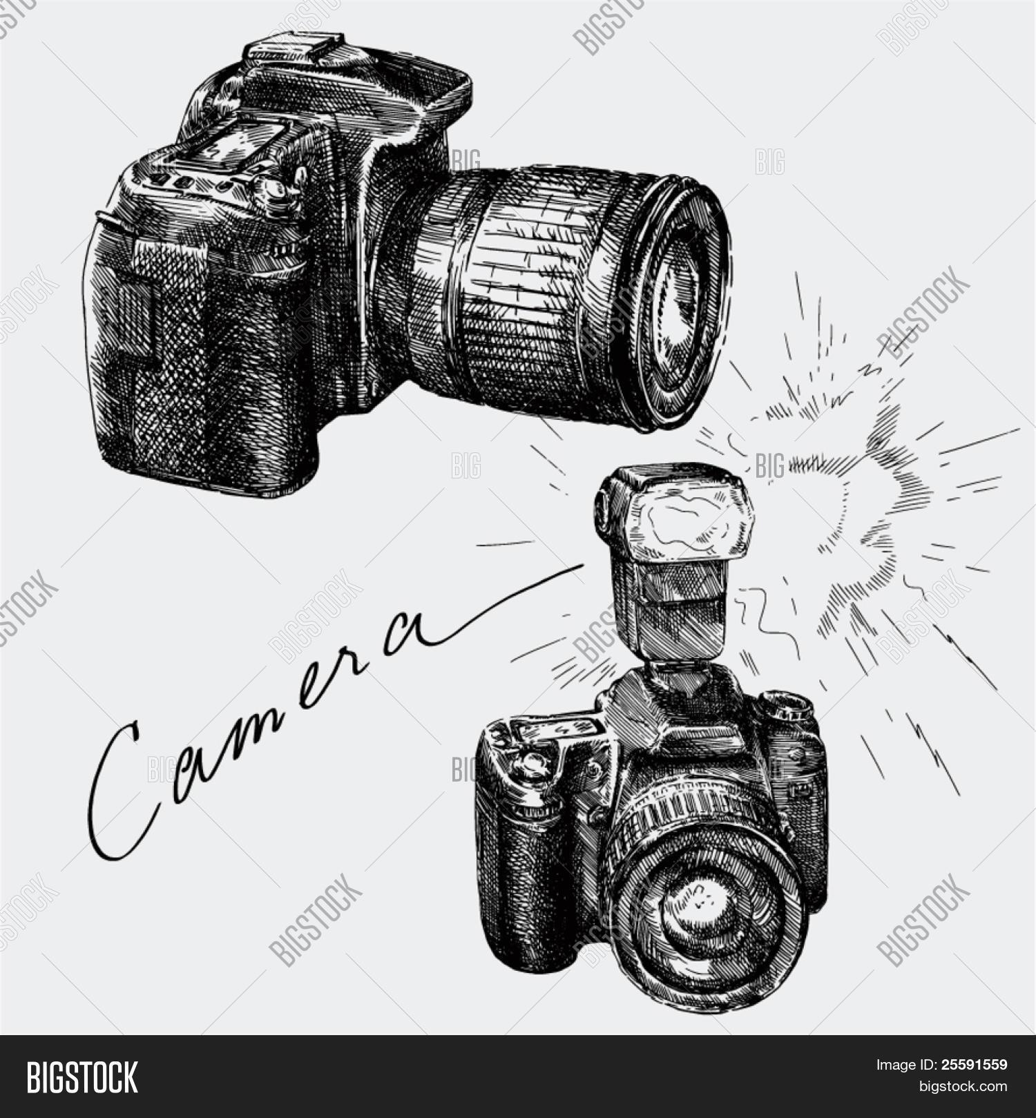 Hand Drawn Camera Vector Photo Free Trial Bigstock