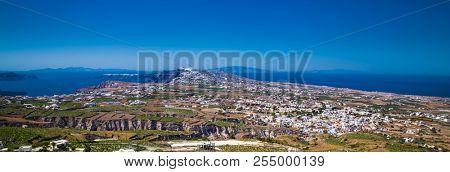 Beautiful panoramic view from Greek village  Emporio at Santorini island, Greece.