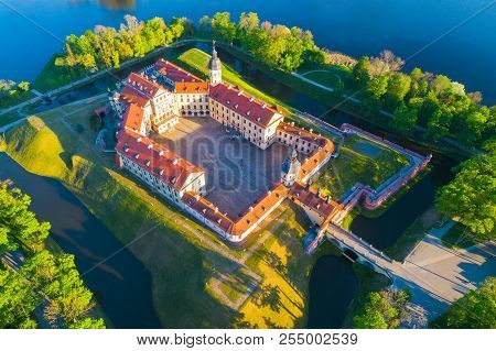 Medieval Castle In Nesvizh, Minsk Region, Republic Of Belarus.