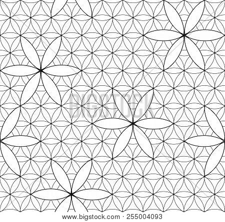 Flower Of Life. Sacred Geometry. Seamless Pattern. Black And White