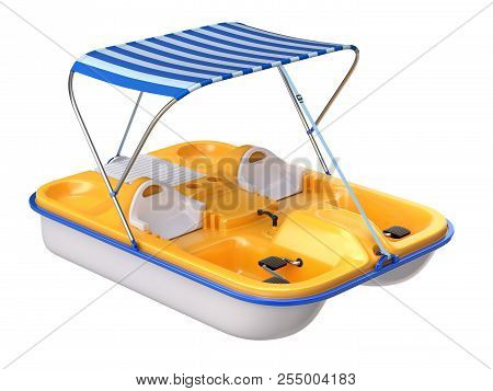 Pedal Boat With Canopy Isolated On White Background - 3d Illustration