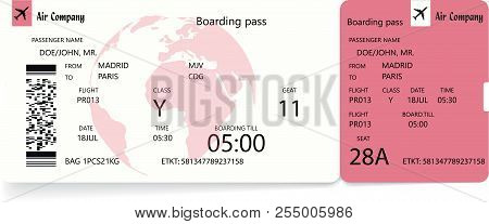Airplane Ticket. Boarding Pass Ticket Template. Vector Illustration In Red Or Rose Colors