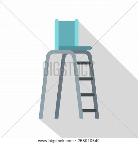 Tennis Tower For Judges Icon. Flat Illustration Of Tennis Tower For Judges Icon For Web