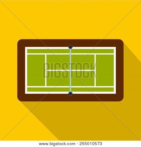 Tennis Court Icon. Flat Illustration Of Tennis Court Icon For Web