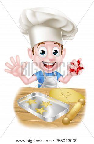 Cartoon Boy Baker In Chefs Hat Making Cookies